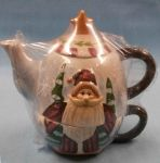 Nantucket Tea for One Ceramic Santa Teapot & Cup Set