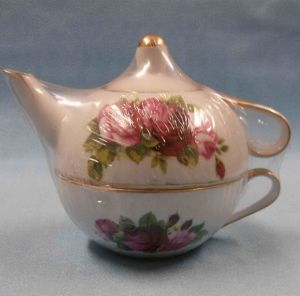 Nantucket Tea for One CeramicFloral Rose Teapot & Cup Set