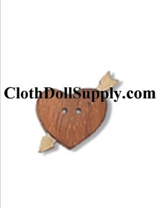 VB 55036 WOOD HEART Button